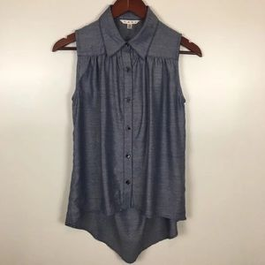 CAbi Chambray Open Back Blouse Top XS
